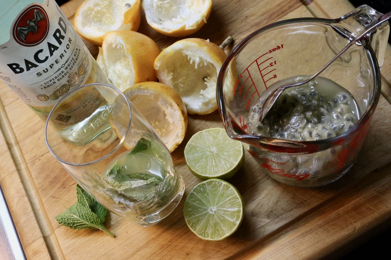 Our homemade mojito recipe features fresh passion fruit, lime, mint and rum.