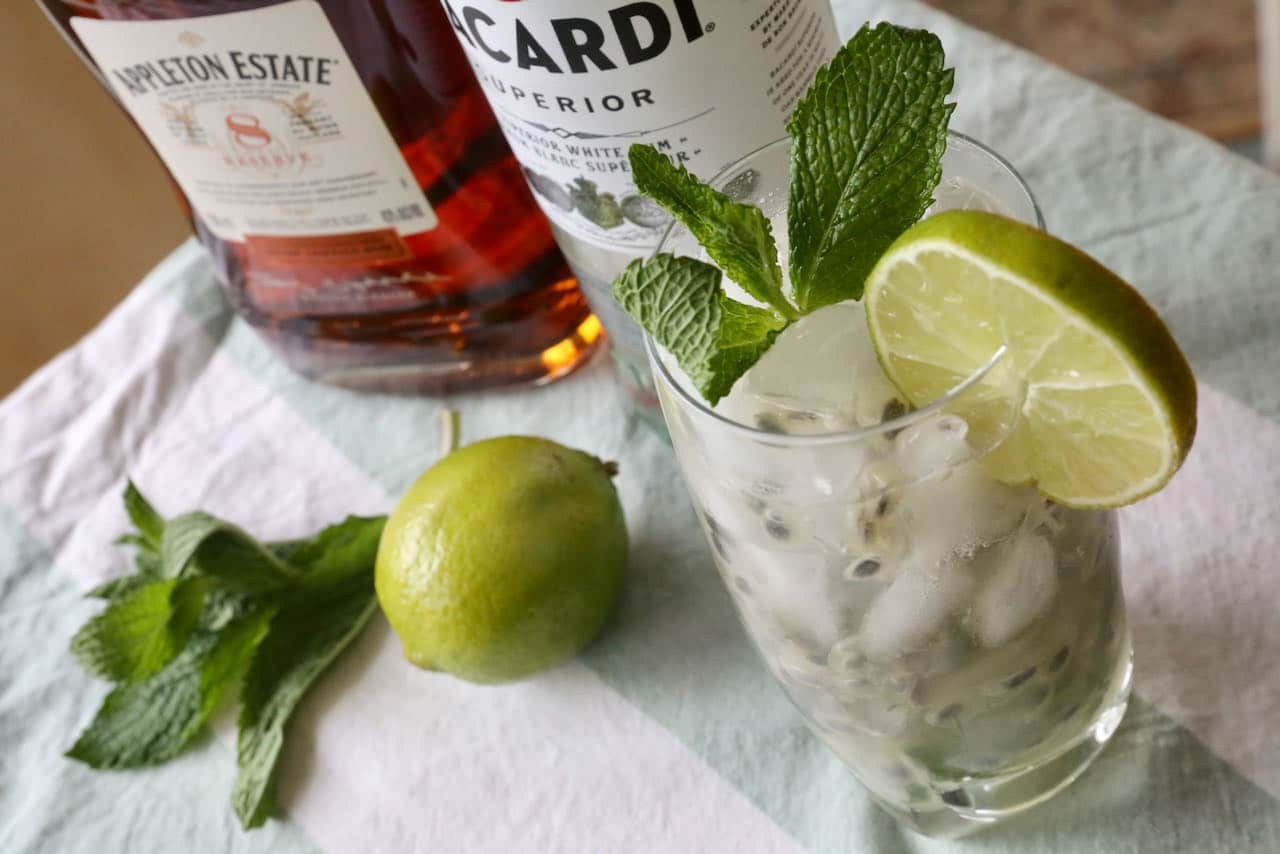 Serve a Passion Fruit Mojito with whole ice cubes or crushed ice in a highball or collins glass.