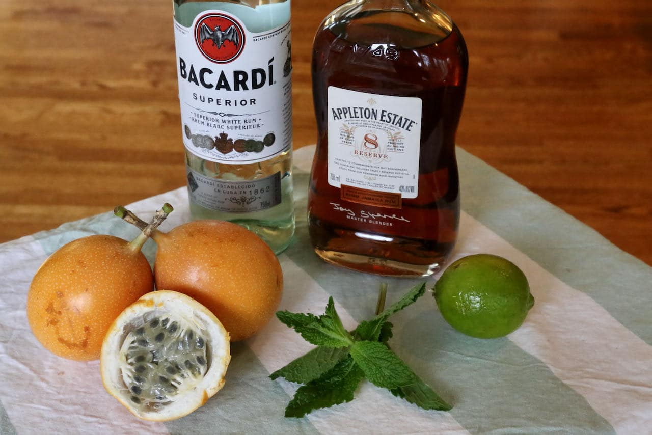 Passion Fruit Mojito cocktail ingredients.