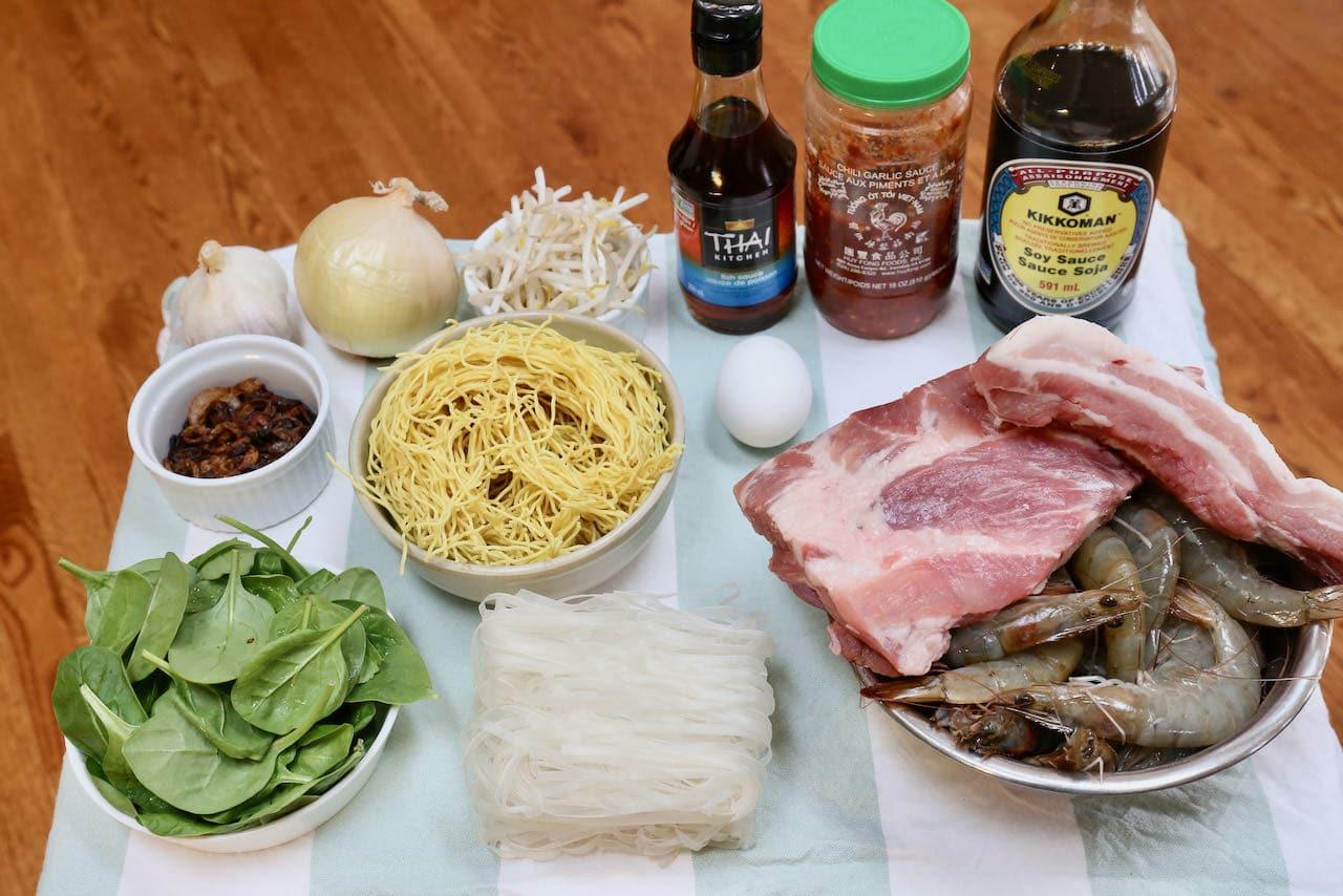 Ingredients you'll need to make homemade Penang Prawn Noodle Soup Hokkien Mee recipe.