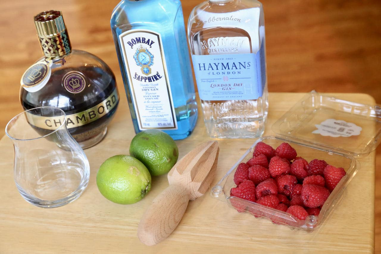 Ingredients you'll need to make our festive Gin & Chambord Cocktail recipe.