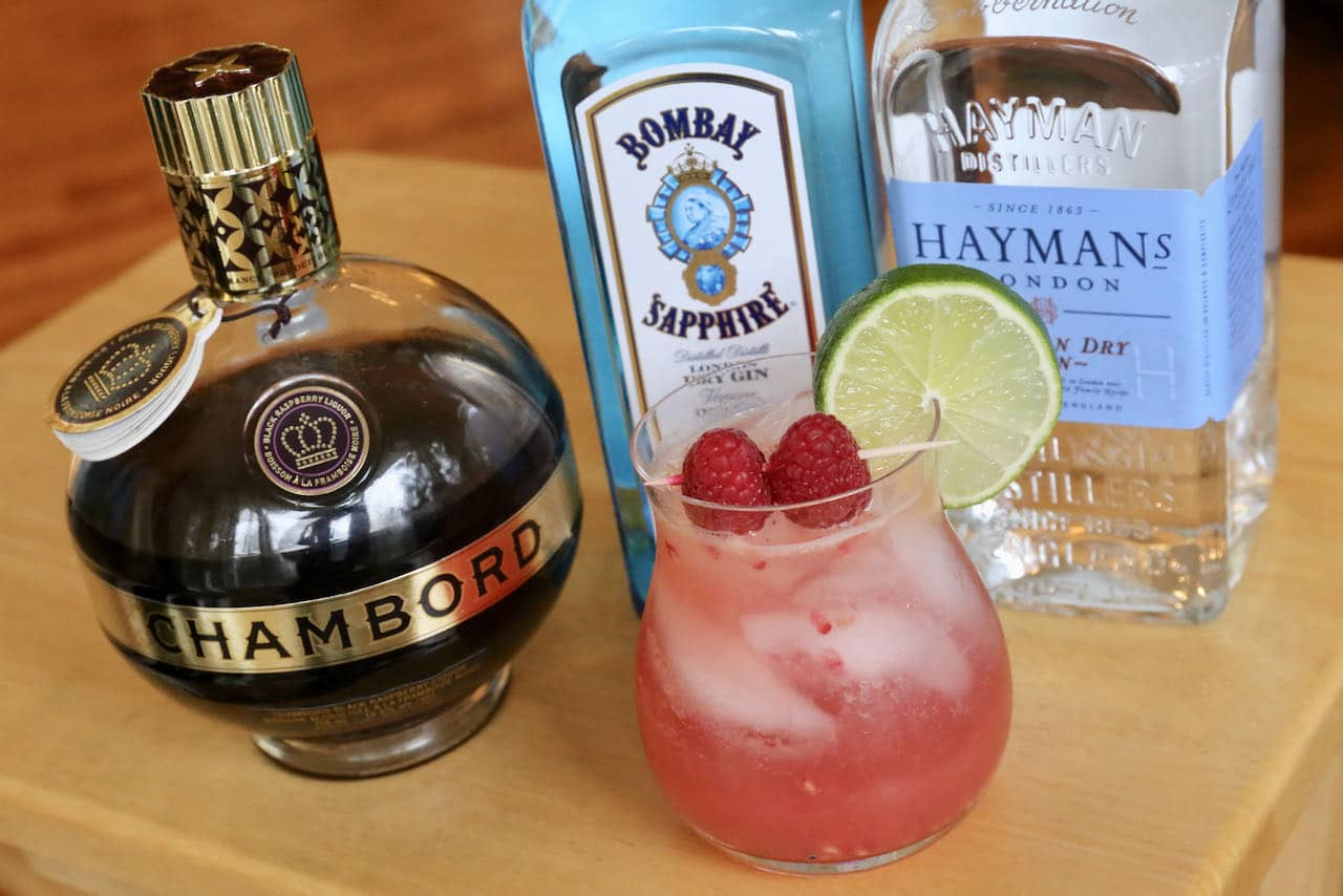 The best Raspberry Gin Cocktail features Chambord liqueur, lime juice and soda.