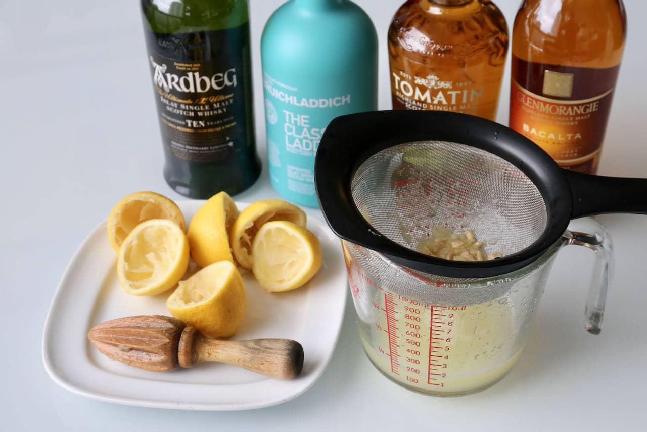 The best Scotch Sour recipe features fresh lemon juice.