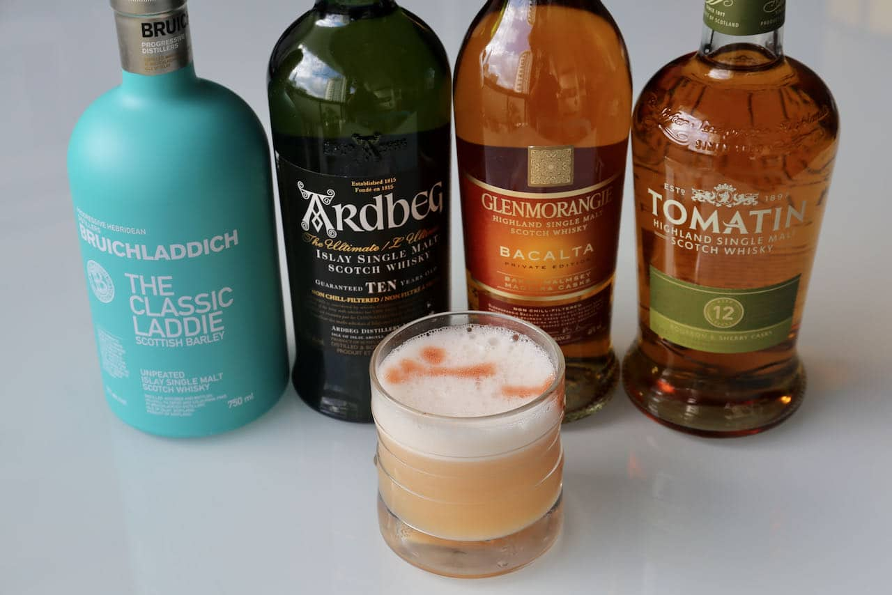 Traditional Scotch Sour recipes feature whisky, lemon juice, bitters and frothy egg white.