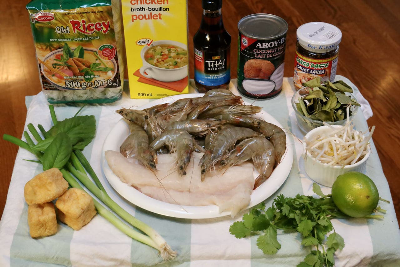 Ingredients you'll need to make traditional Seafood Laksa Singaporean Soup.