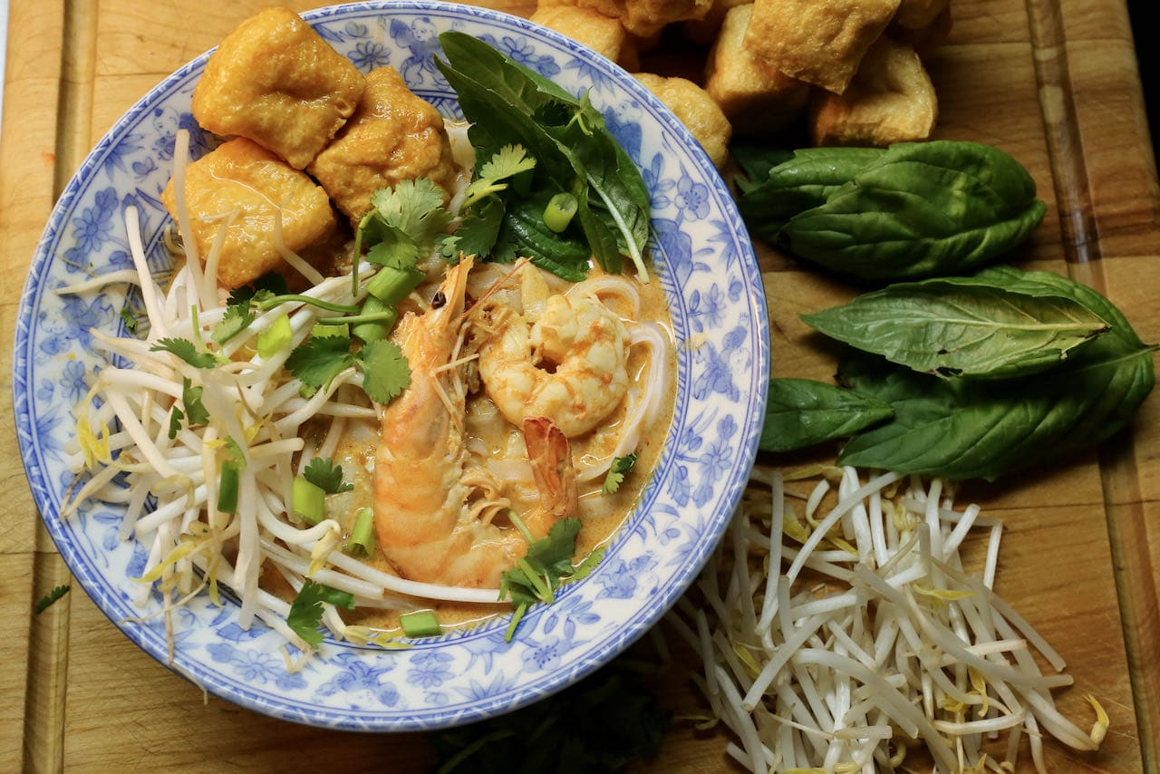 Seafood Laksa is our favourite Singaporean Soup featuring fragrant basil and cilantro.