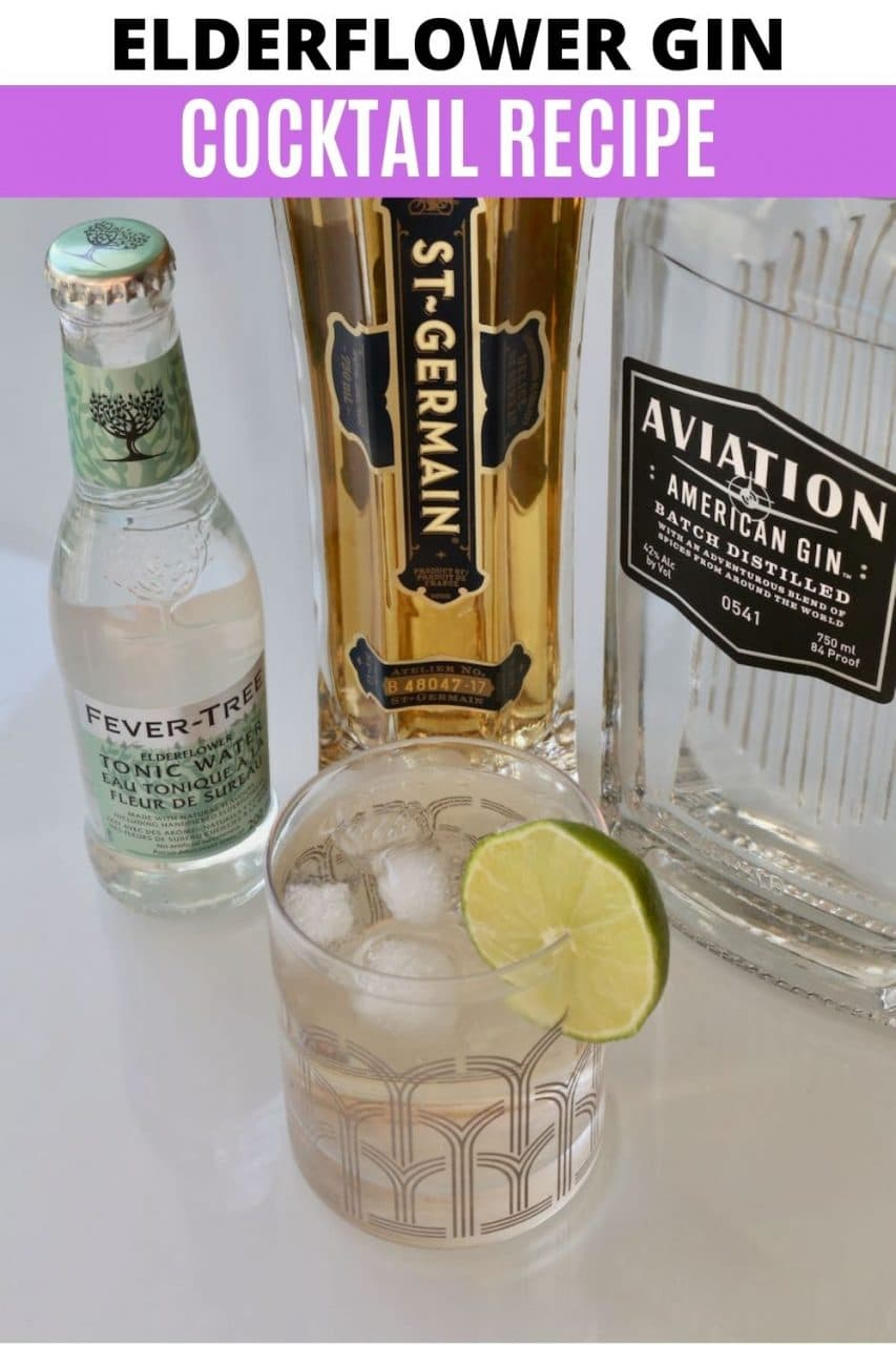 Save our Elderflower Gin and Tonic cocktail recipe to Pinterest!