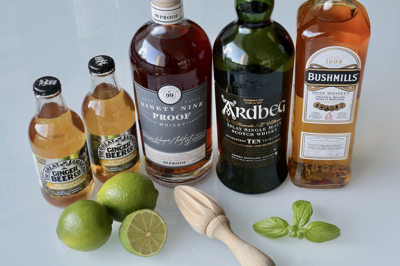 Ingredients you'll need to prepare our easy homemade Whiskey and Ginger Beer drink.