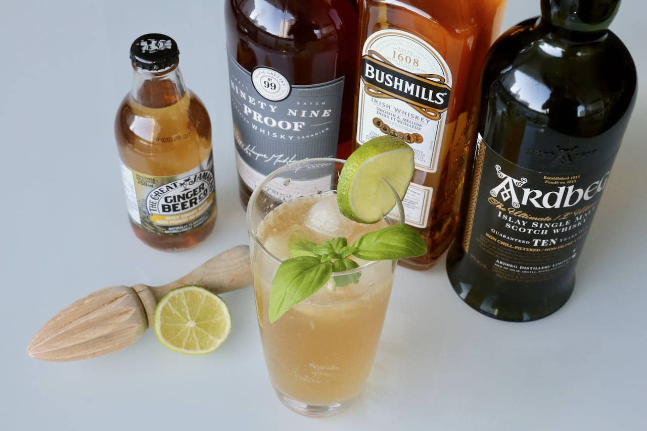 Our homemade Whiskey and Ginger Beer recipe features lime juice, ginger beer and basil.