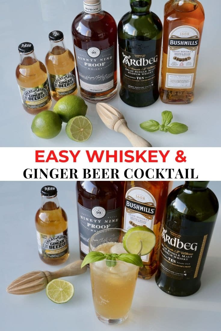 Save our Whiskey and Ginger Beer cocktail recipe to Pinterest!