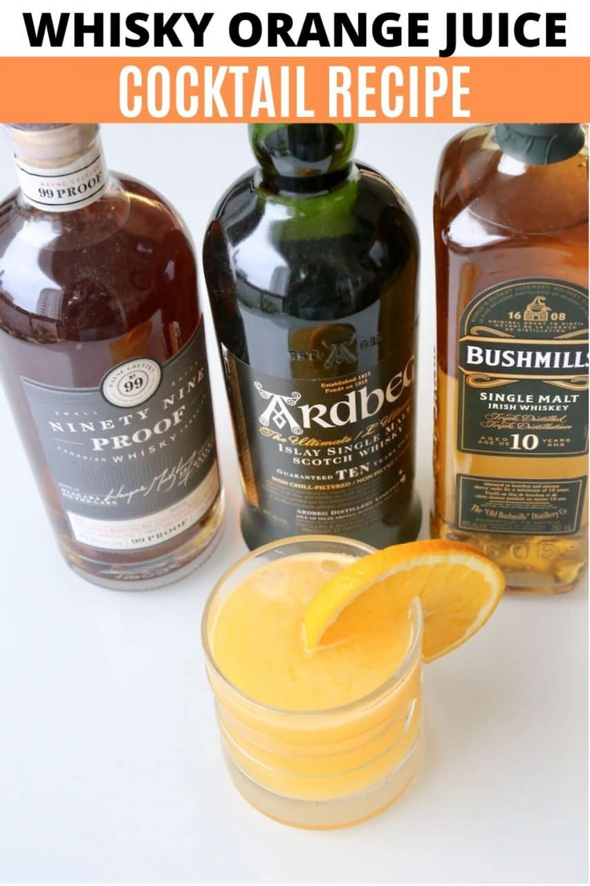 Save our Whisky Orange Juice Cocktail recipe to Pinterest!