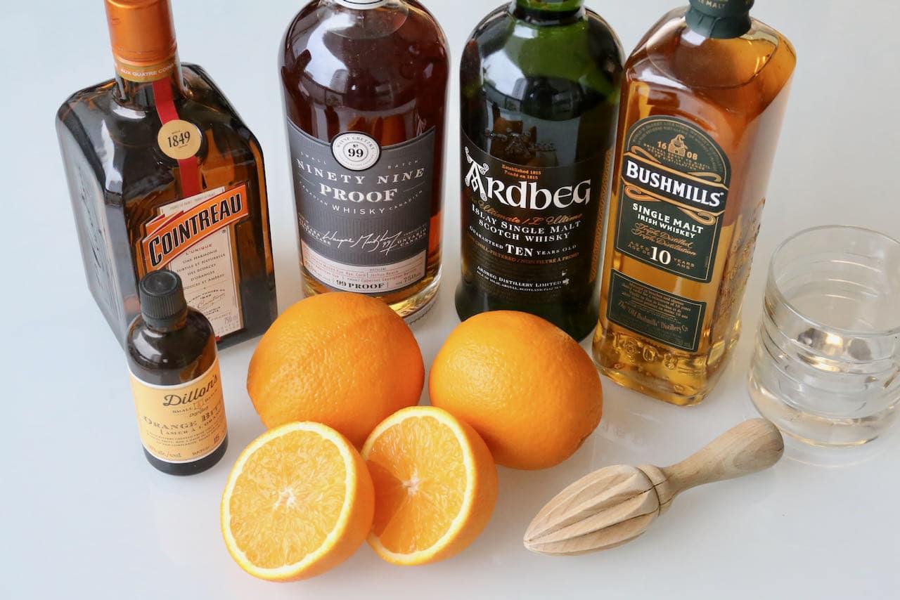 Easy Whisky Orange Juice ingredients.