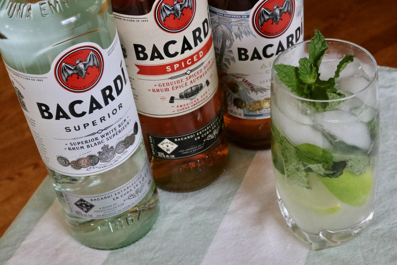 Serve a Bacardi Mojito with whole ice cubes or crushed ice in a highball or rocks glass.