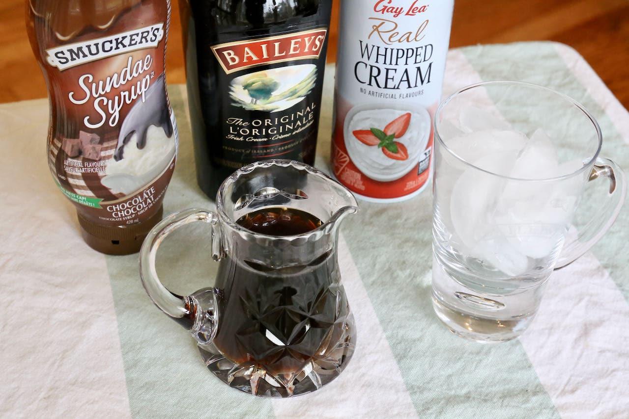 Baileys Iced Coffee recipe ingredients.