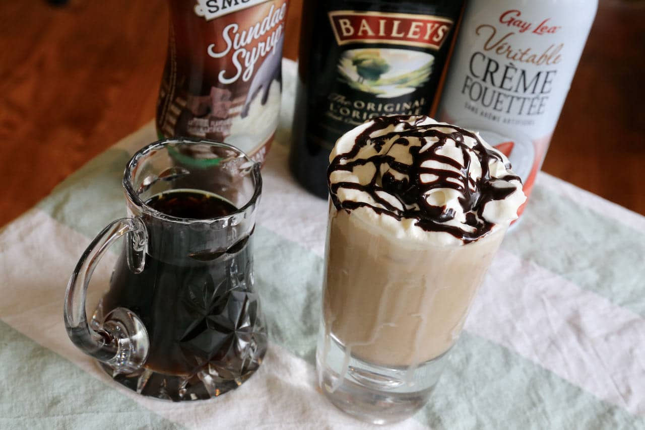 Add 2 scoops of vanilla ice cream to our Baileys Iced Coffee recipe for an easy adult dessert.