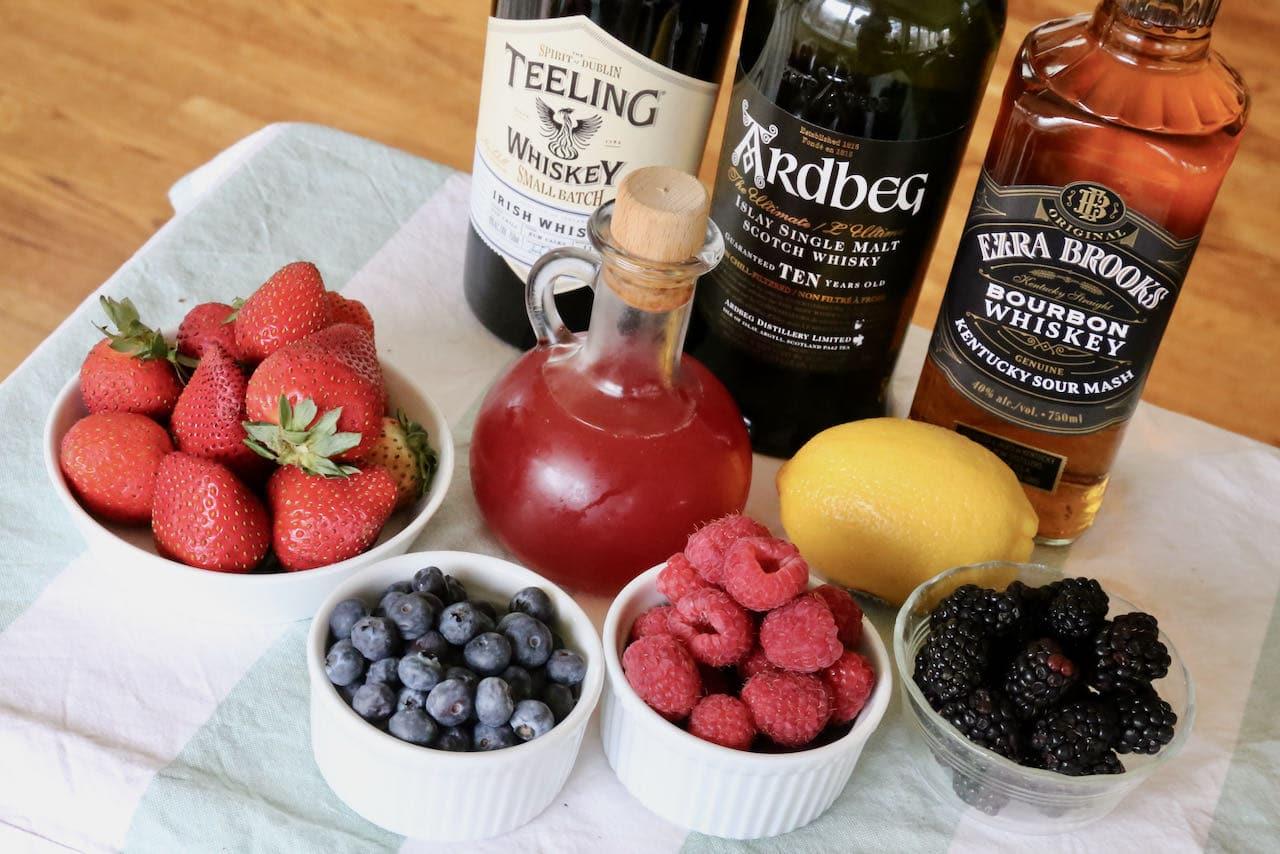 Berry Lemonade Summer Whiskey Cocktail ingredients.
