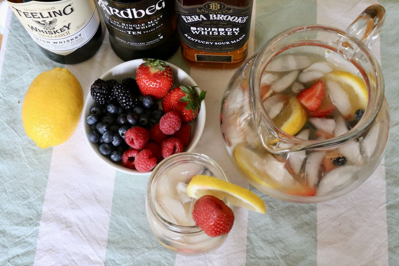 We love serving this easy Summer Whiskey Cocktail at the cottage on the dock in July and August.