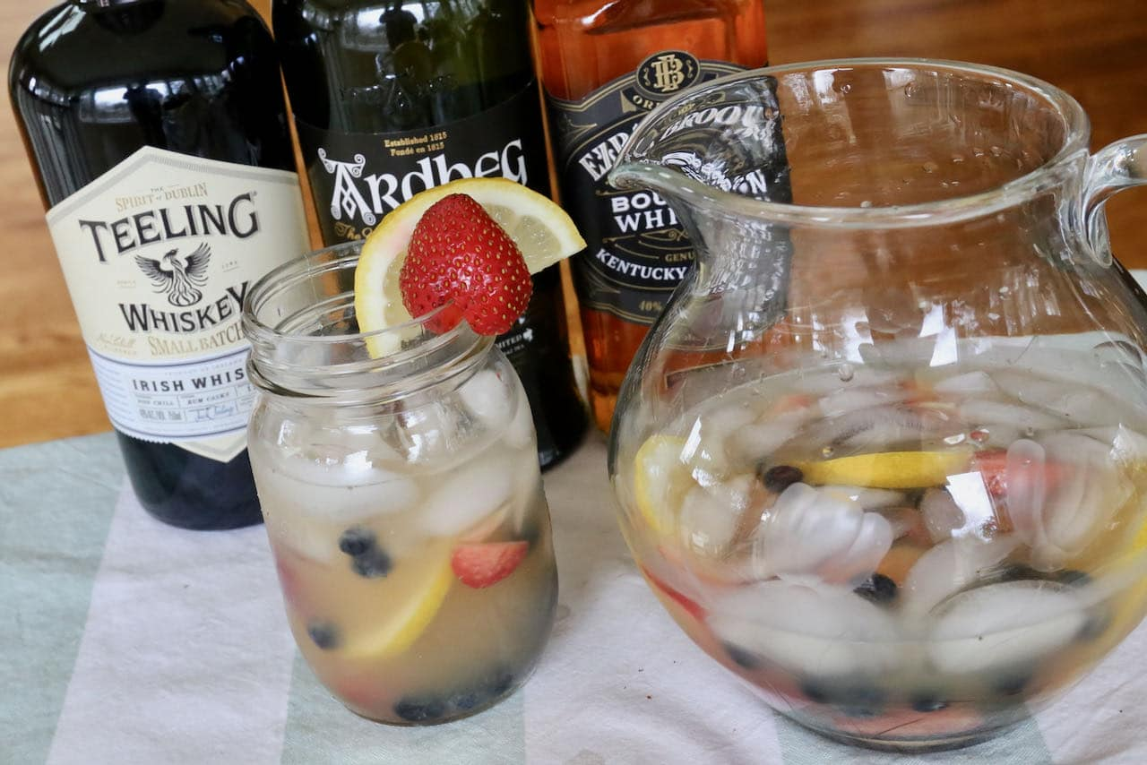 Mix your Summer Whiskey Cocktail with Irish Whiskey, Scotch or Bourbon.