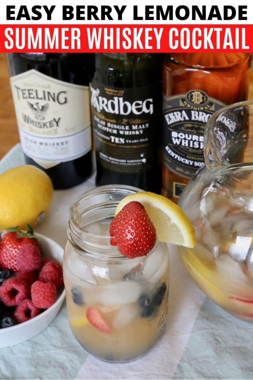 Save our Berry Lemonade Summer Whiskey Cocktail recipe to Pinterest!