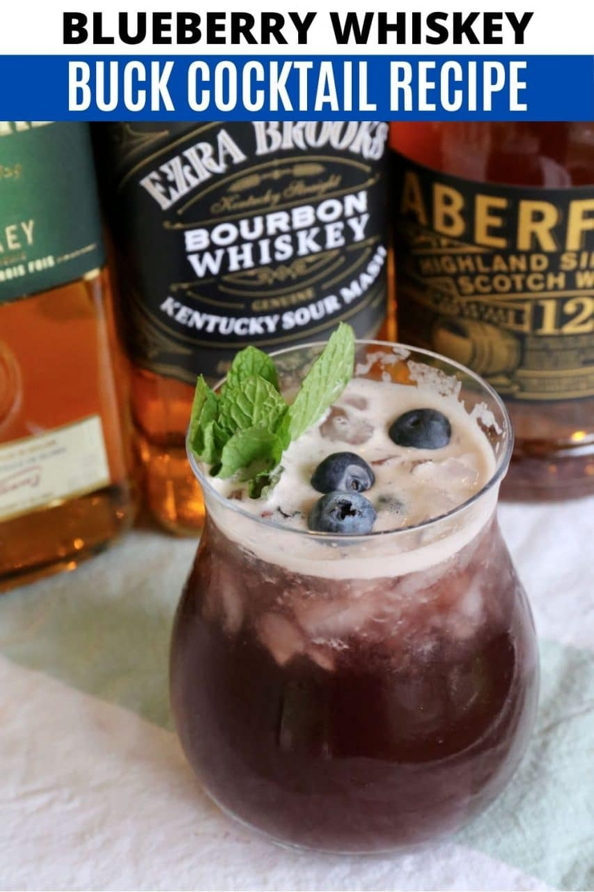 Save our fresh Whiskey Blueberry Buck cocktail recipe to Pinterest!