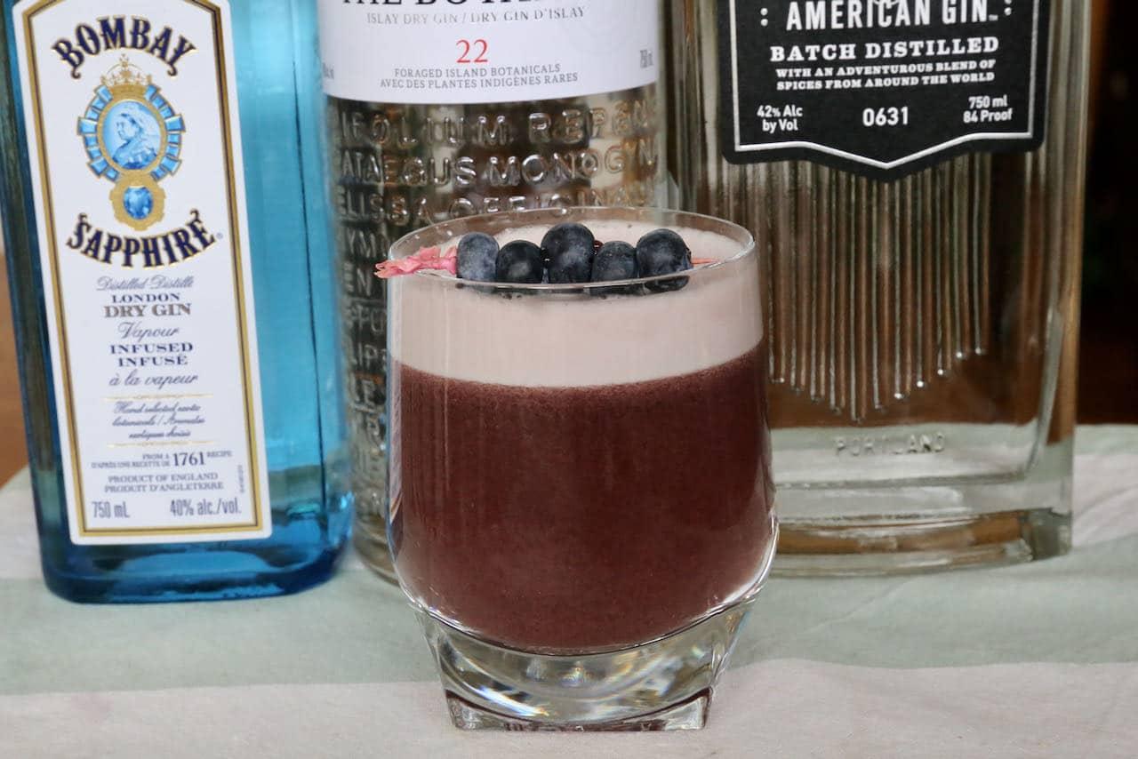 Sour Lemon Blueberry Gin Cocktail Drink Recipe