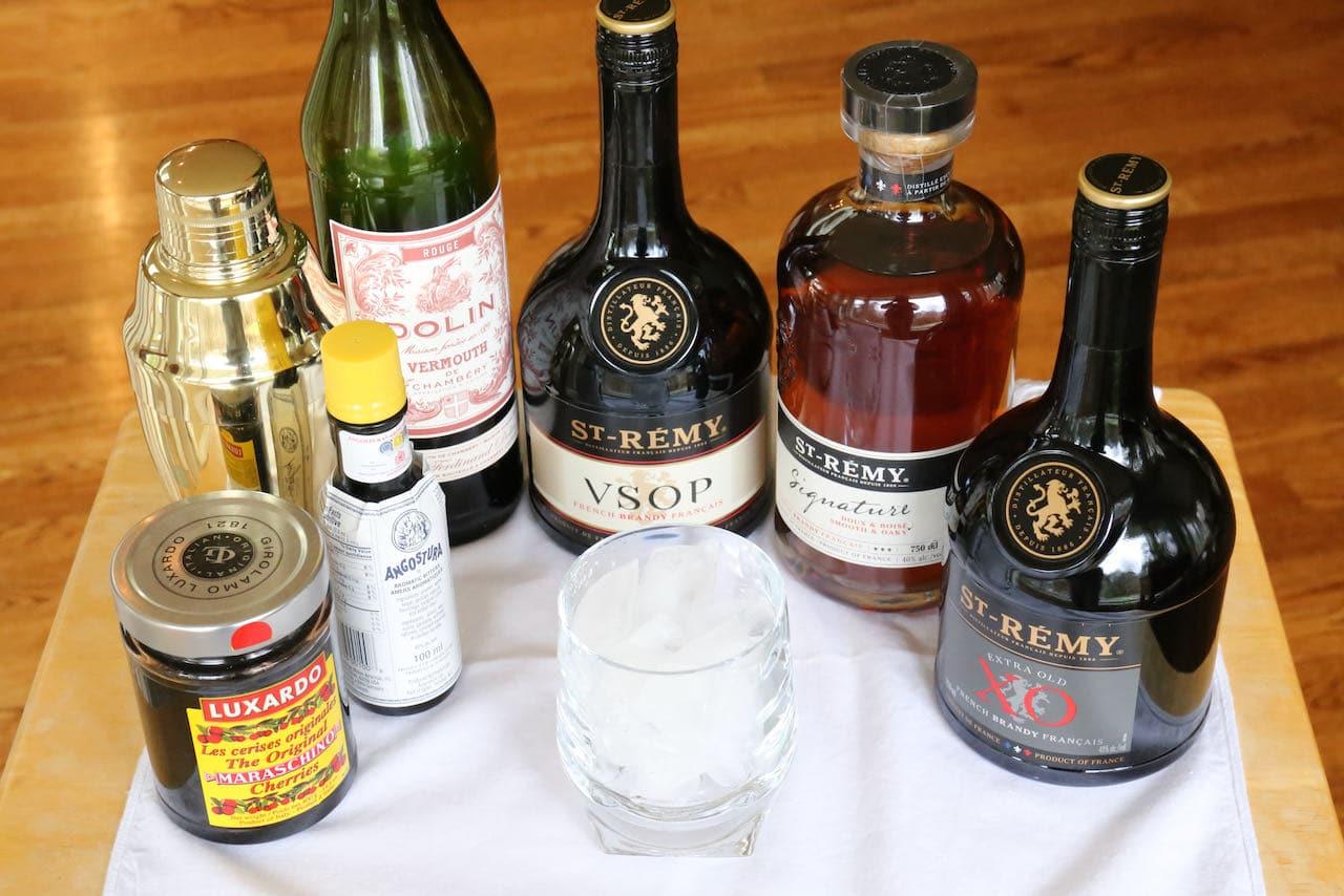 Traditional Brandy Manhattan ingredients.