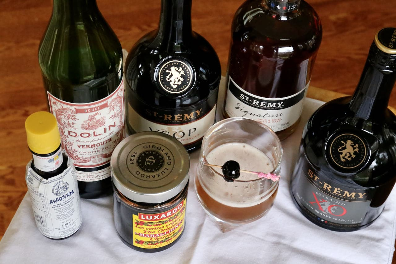 This homemade Brandy Manhattan recipe features bitters, angostura bitters and sweet vermouth.