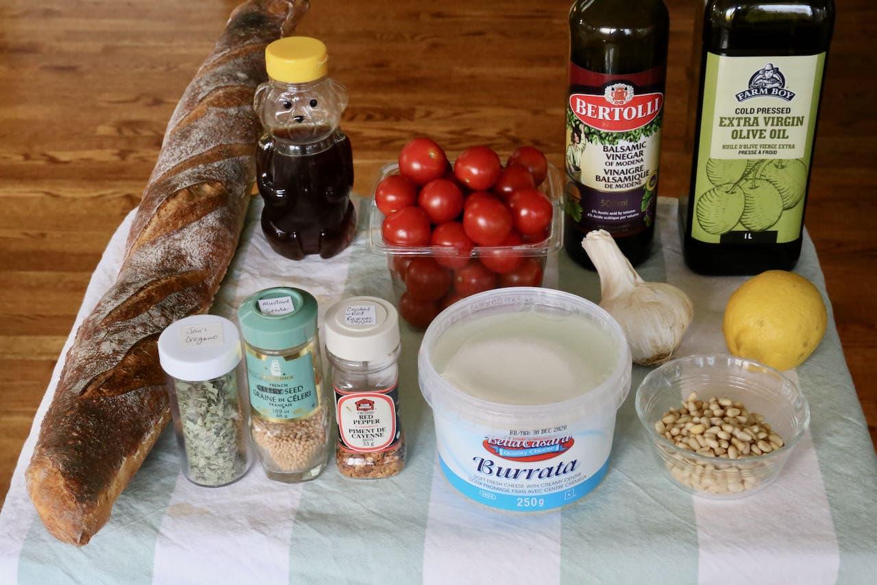 Burrata Crostini recipe ingredients.
