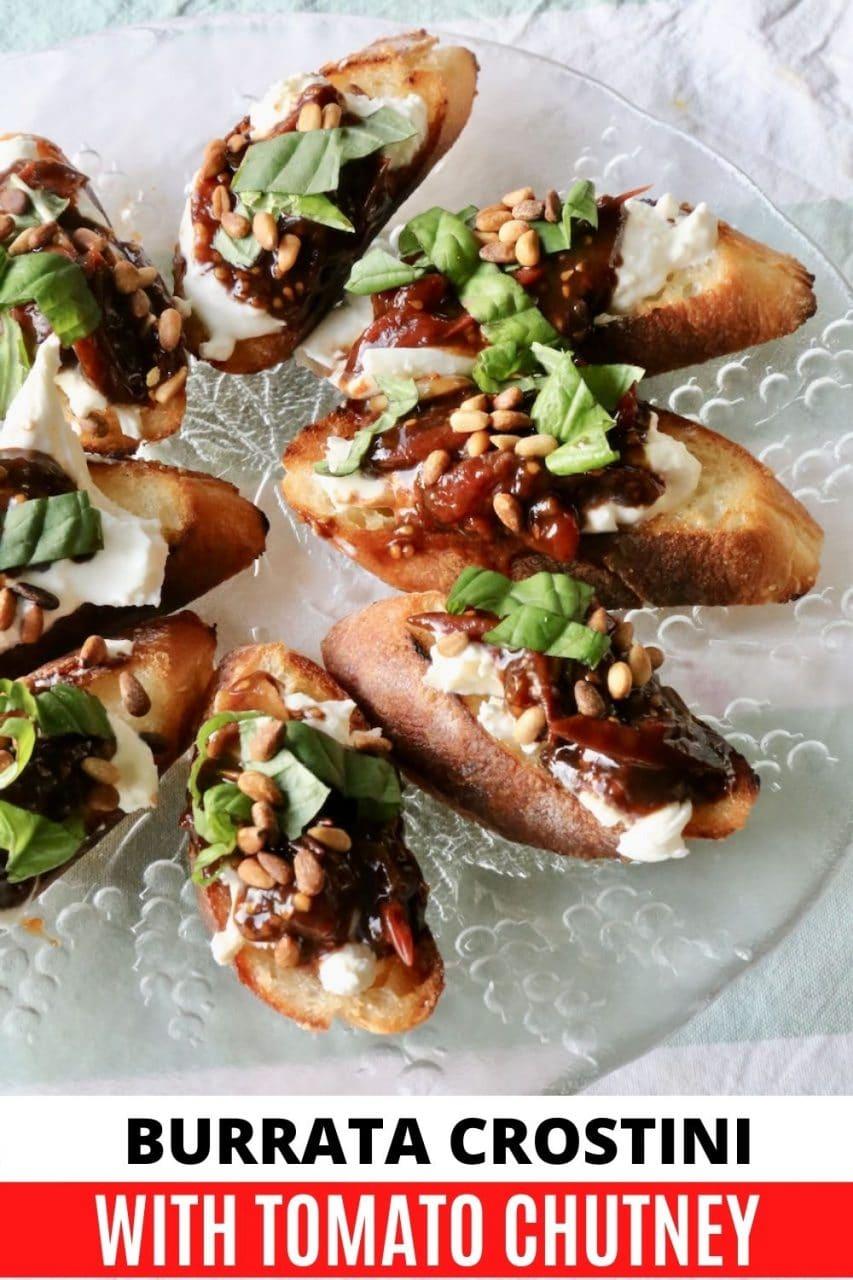 Save our homemade Burrata Bruschetta Crostini recipe to Pinterest!