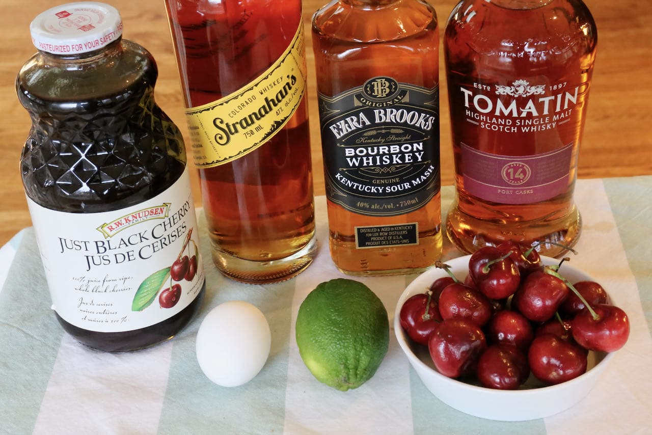 Easy Cherry Whiskey Sour cocktail ingredients.