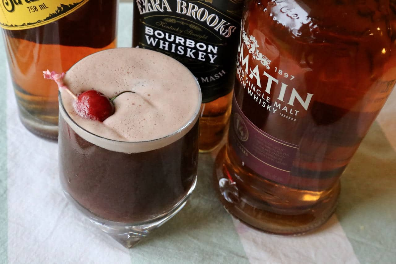 Serve a tart Cherry Whiskey Sour in a rocks glass.