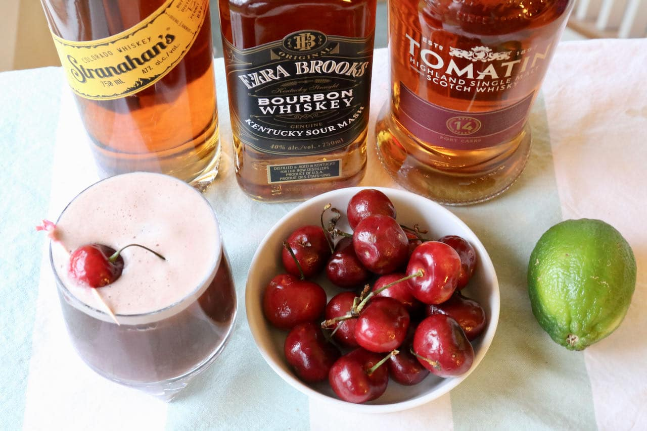 Our homemade Cherry Whiskey Sour is prepared with lime juice, tart cherry juice and garnished with a fresh cherry.