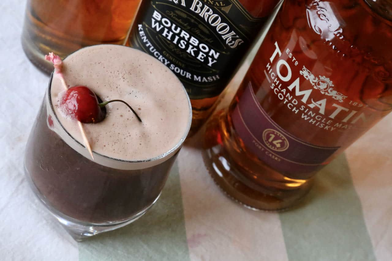 We love serving Cherry Whiskey Sour cocktails at summer barbecues when fresh cherries are in season.