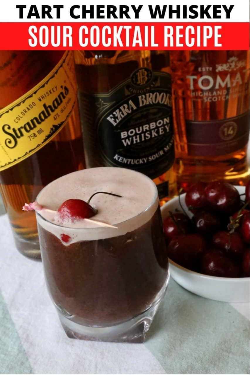 Save our Cherry Whiskey Sour cocktail recipe to Pinterest!