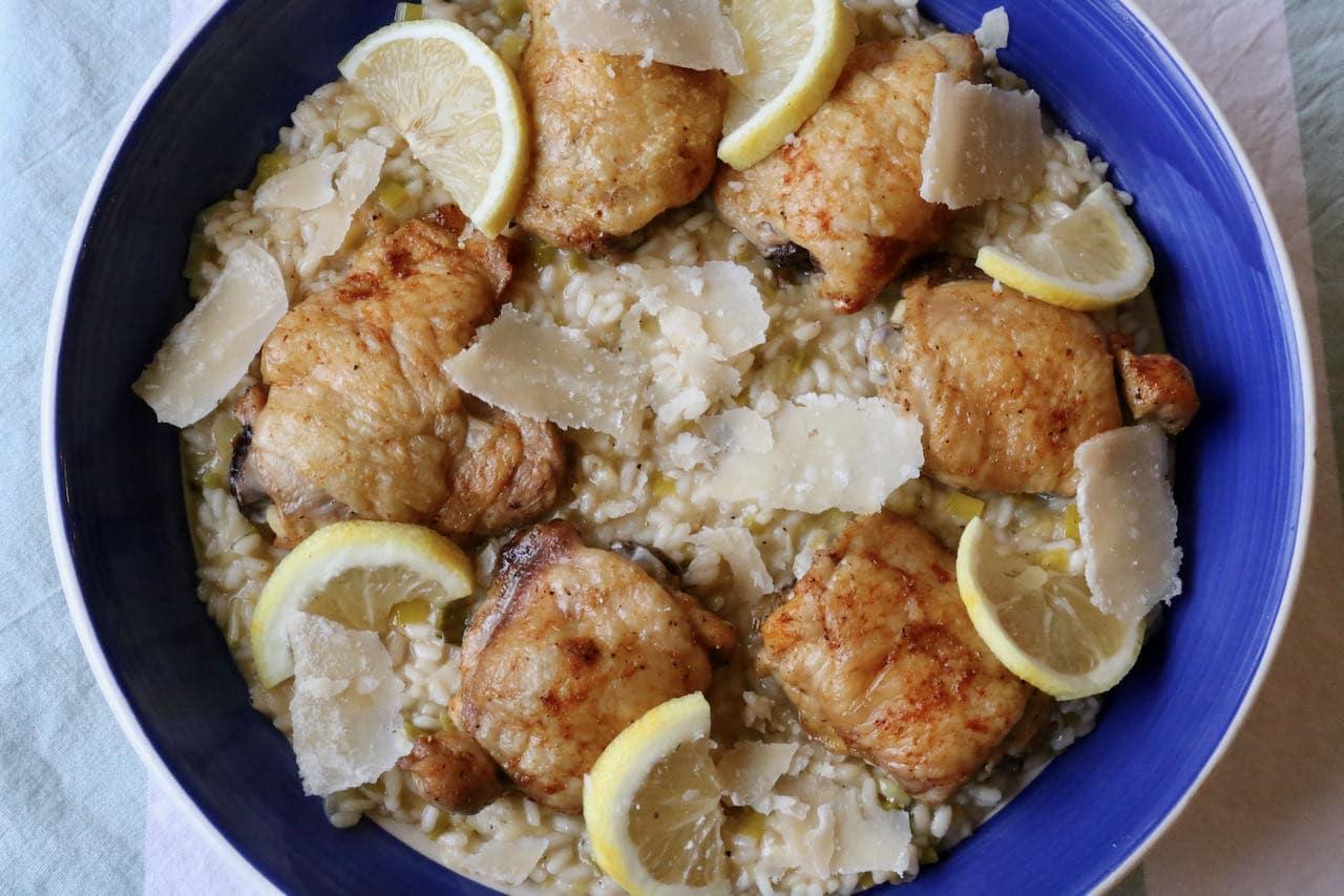 Crispy Roast Chicken and Leek Risotto Recipe