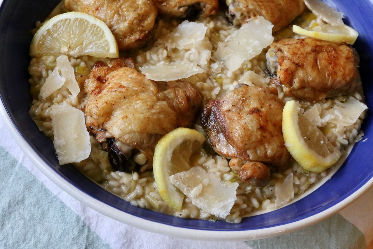 Chicken and Leek Risotto is the perfect entree or main course to serve at an Italian dinner party.