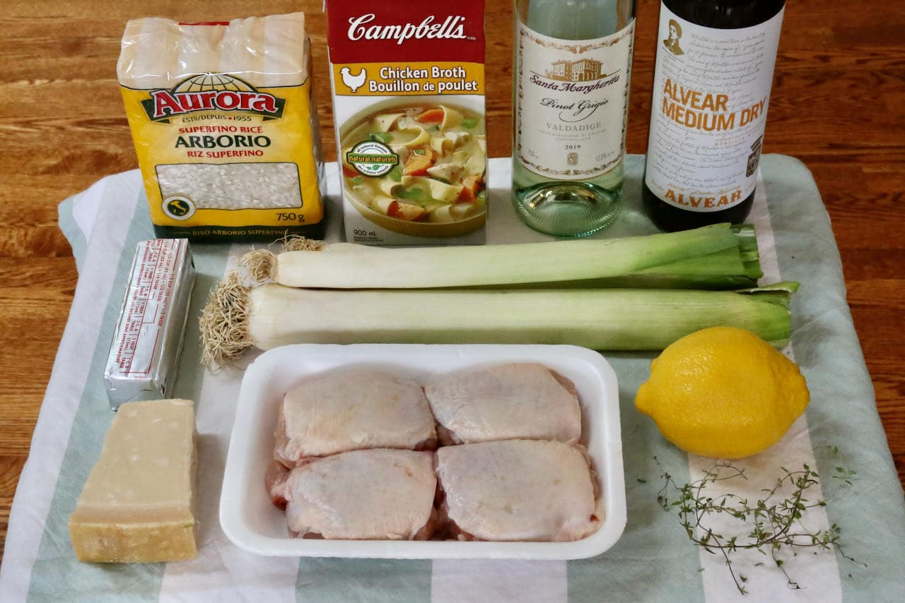 Homemade Chicken and Leek Risotto recipe ingredients.