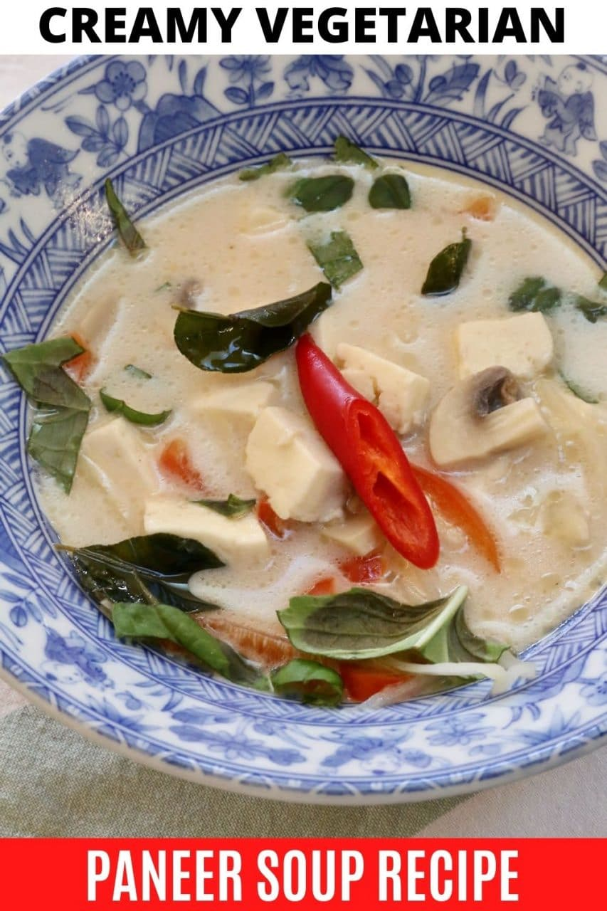 Save our creamy vegetarian Paneer Soup recipe to Pinterest!