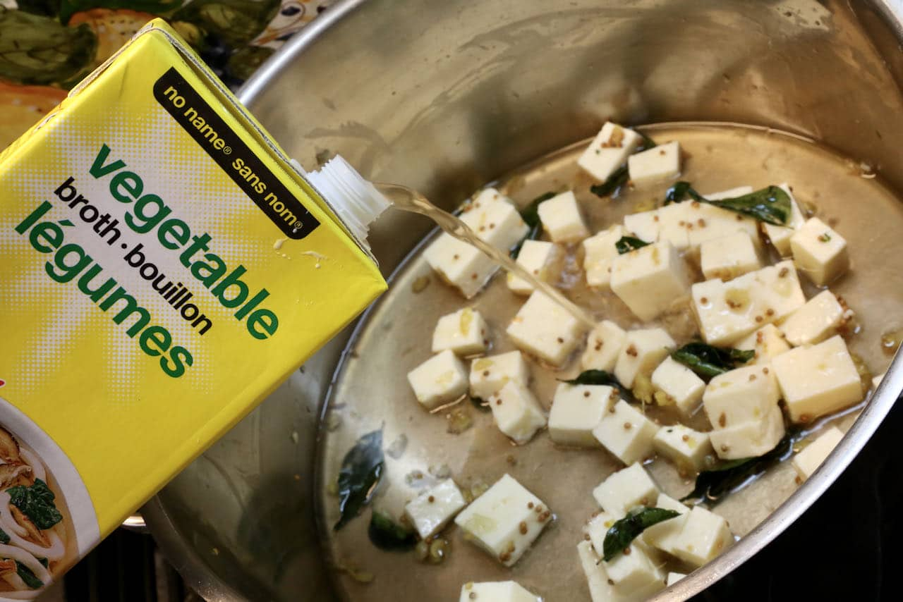 Our Paneer Soup recipe is flavoured with vegetable broth.