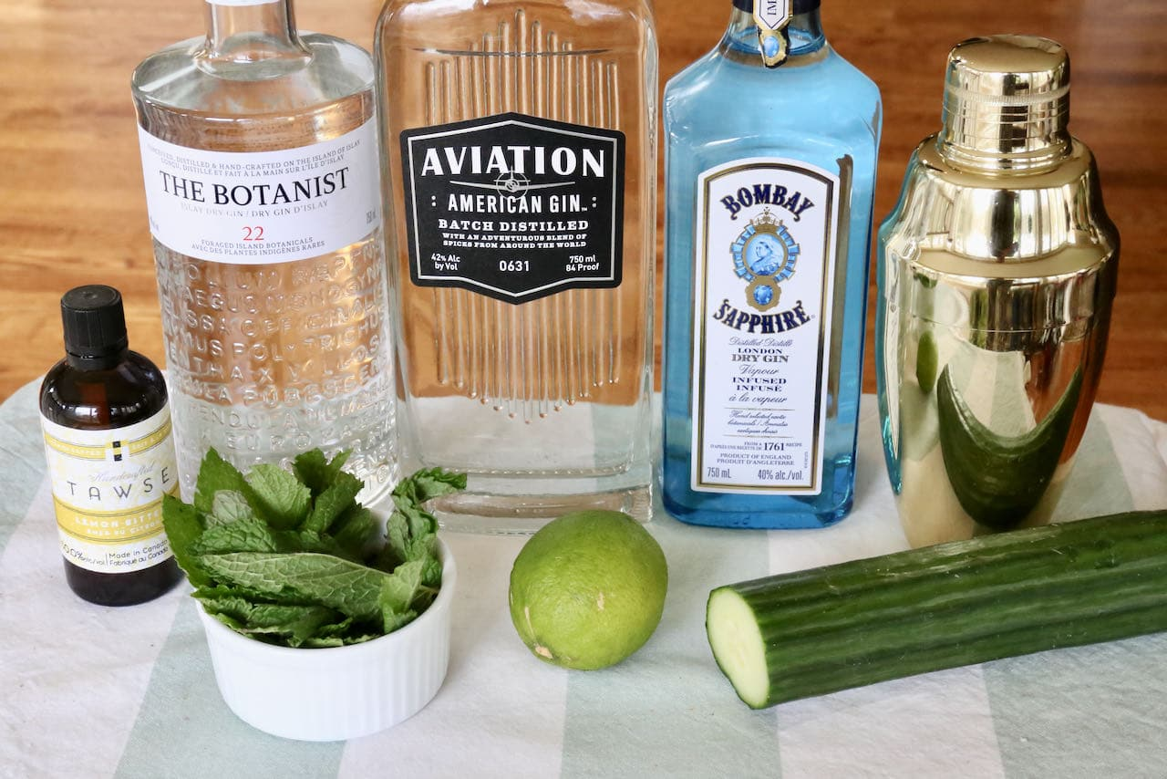 Easy homemade Classic Eastside Cocktail ingredients.