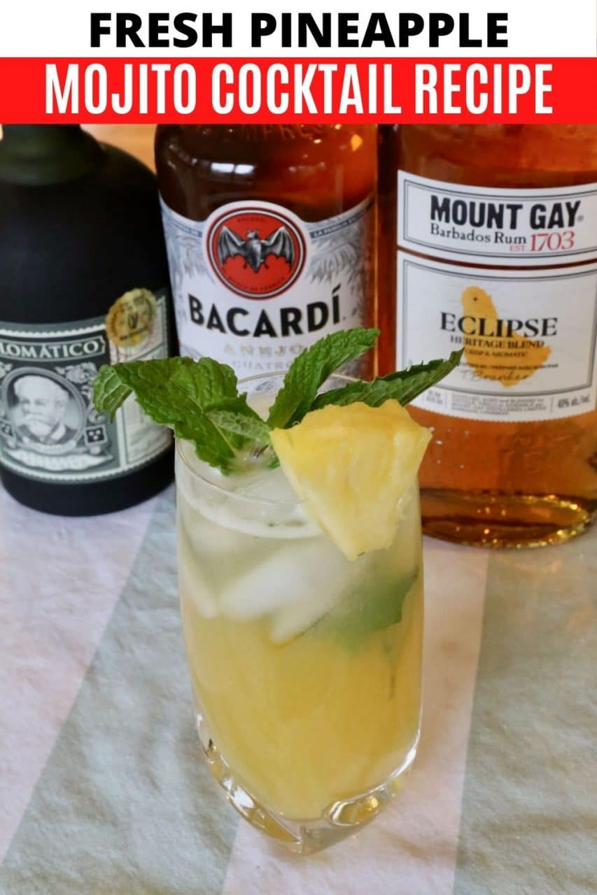 Save our Pineapple Mojito Cocktail recipe to Pinterest!
