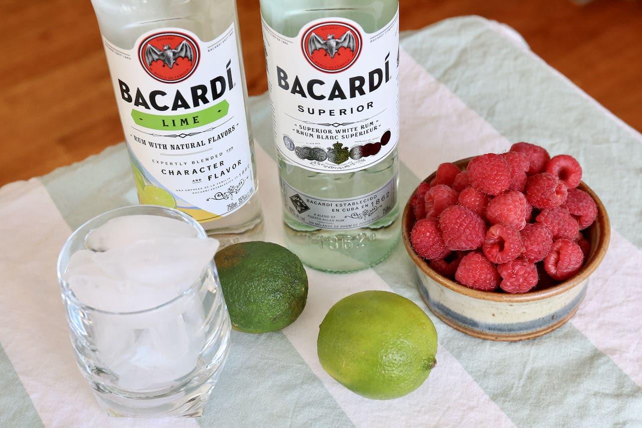 Frozen Raspberry Daiquiri recipe ingredients include fresh raspberries, lime and white rum.