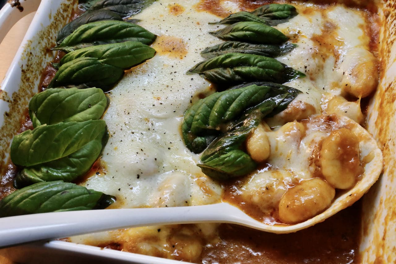 After the Gnocchi Casserole finishes baking in the oven the mozzarella cheese melts to perfection.
