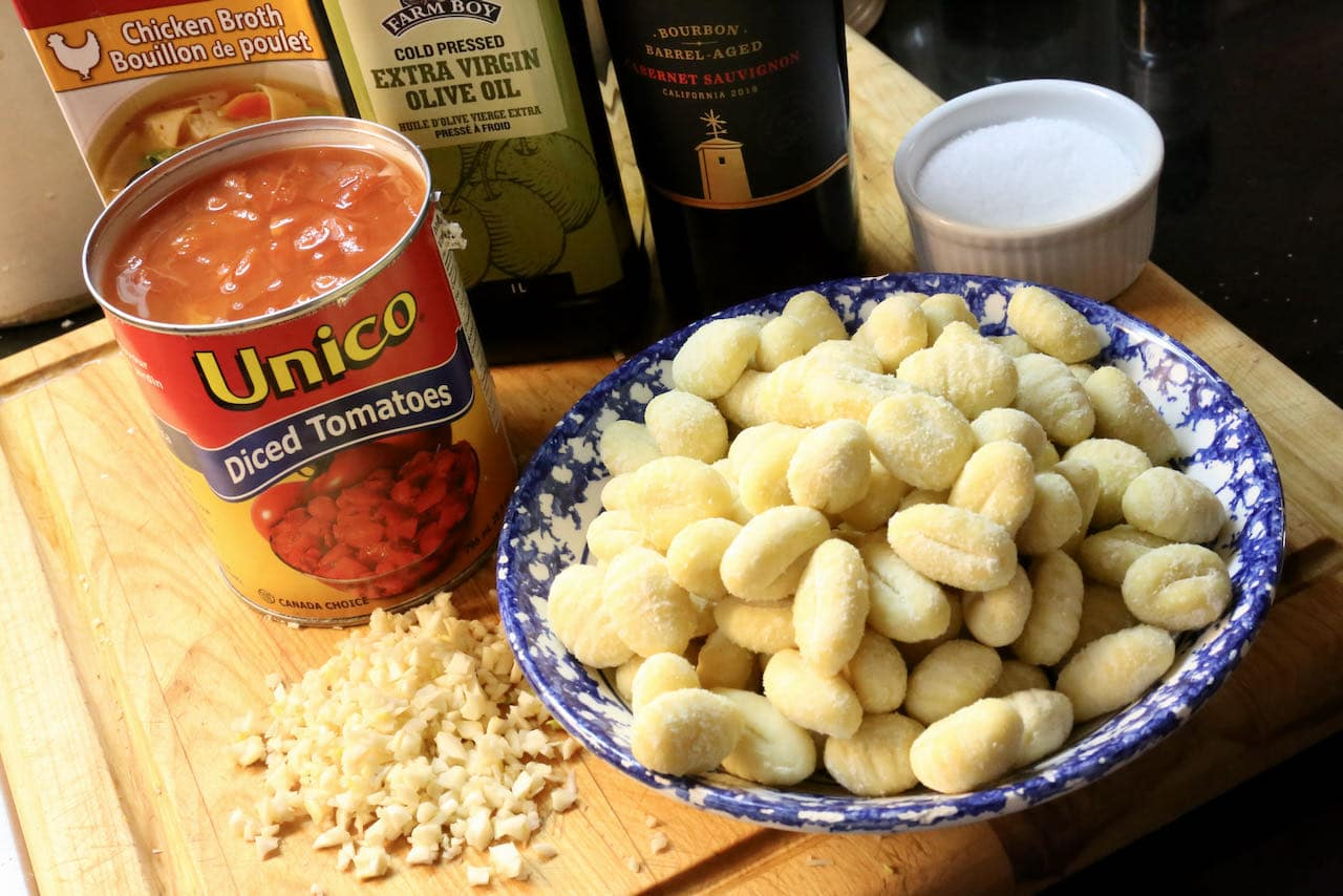 This easy pasta cheese bake features store bought gnocchi and a simple homemade tomato sauce.