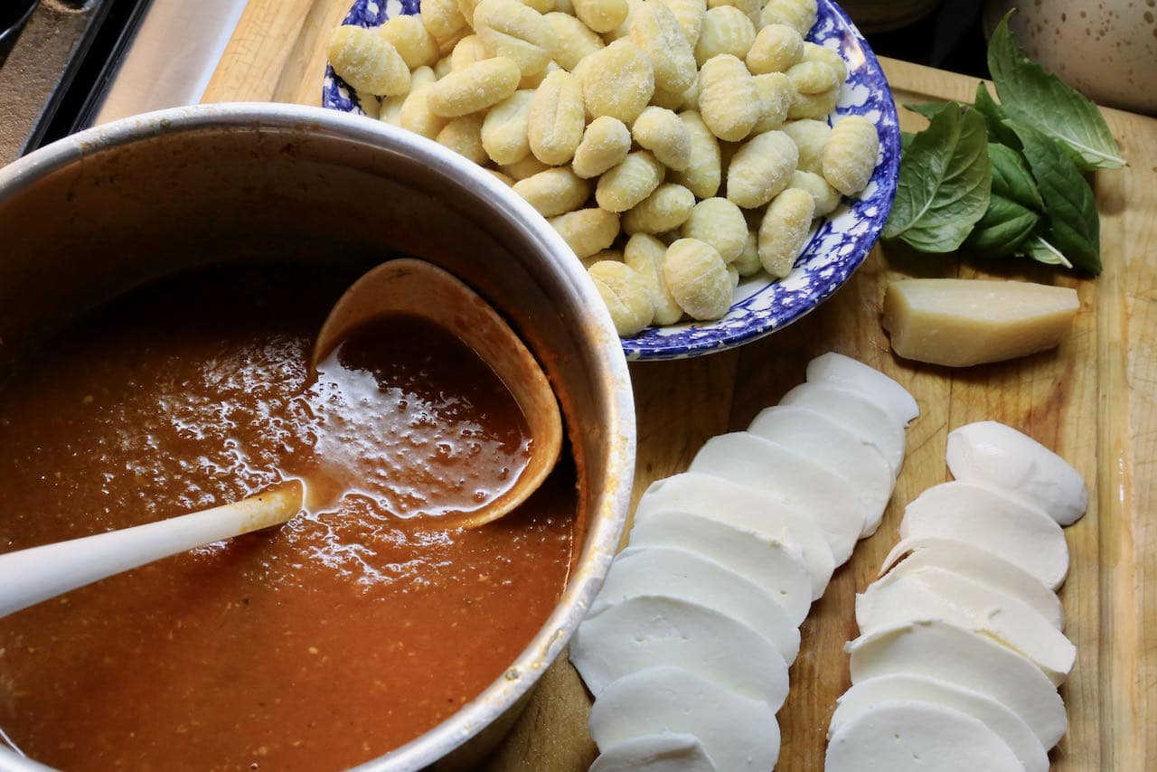 Gnocchi cheese bake assembly.