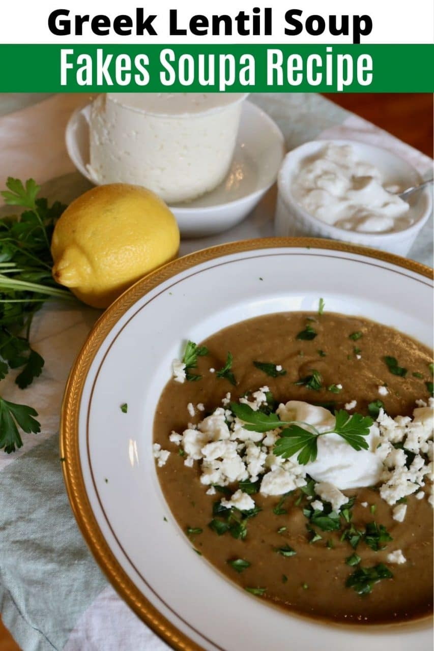 Save our healthy homemade Fakes Soupa Greek Lentil Soup recipe to Pinterest!