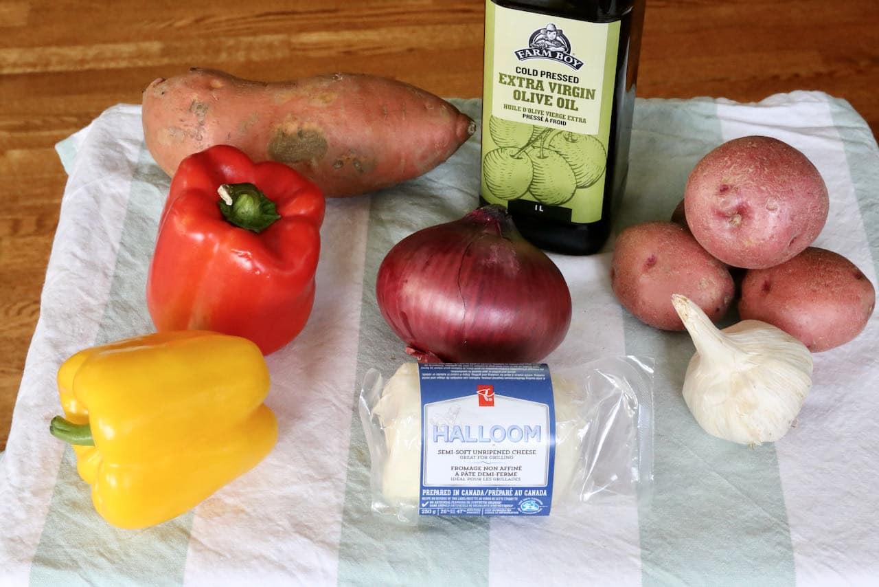 Oven Baked Halloumi recipe ingredients.
