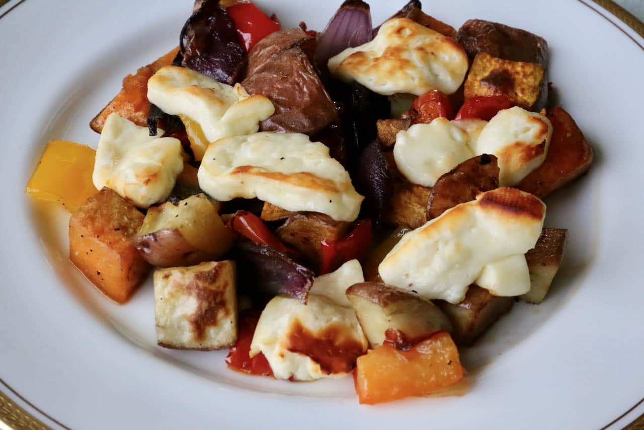 Oven Baked Halloumi with Roasted Vegetables Recipe