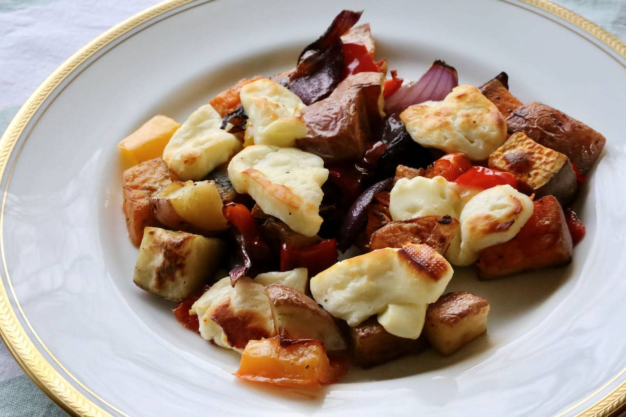 Now you're an expert on how to make Oven Baked Halloumi with roasted vegetables!