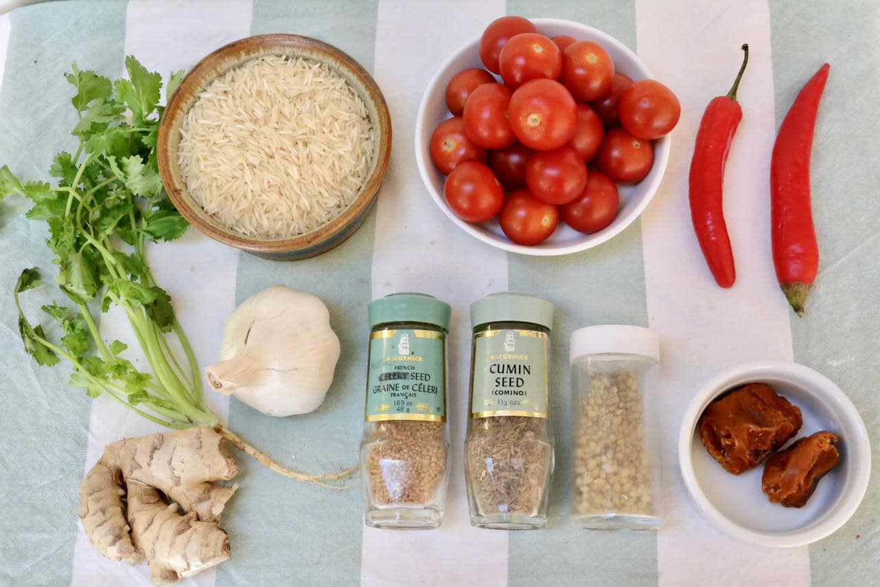 Vegan Tomato Biryani recipe ingredients.